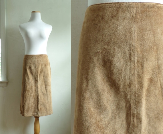"brown suede skirt size large 12 | 32"" waist 
