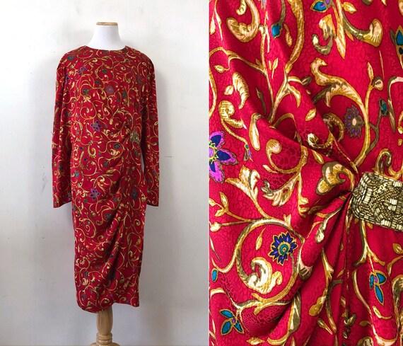 Vintage Floral Silk Dress | 80s Embossed Flower Pr