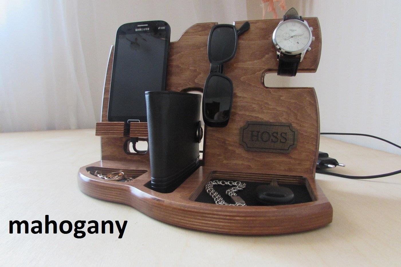 Wood Organizer Docking Station Anniversary Gift Men Nightstand Organizer Glasses Holder Charging Dock Wooden Phone Stand Husband Gift Mens