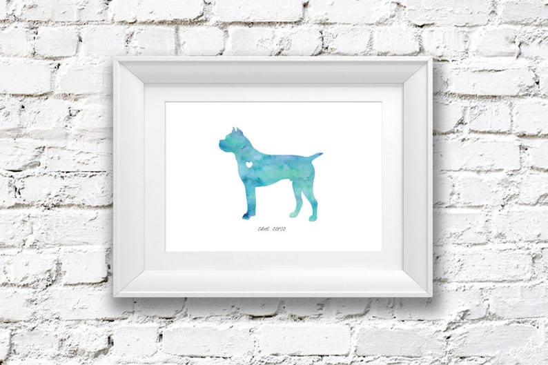 Cane Corso Dog Watercolor Painting Digital Art Print Etsy
