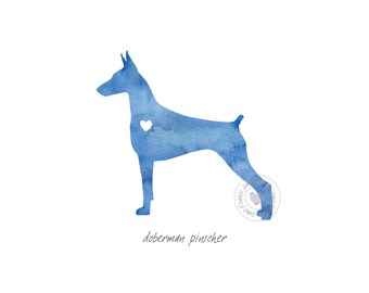 Doberman Pinscher Dog Watercolor Painting Digital Art Print Silhouette Custom Wall Decor, Home, Office, Nursery, Room Decor