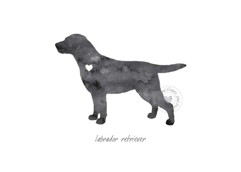 Labrador Retriever Dog Watercolor Painting Digital Art Print Silhouette  Custom Wall Decor, Home, Office, Nursery, Room Decor