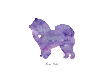 Chow Chow Dog Watercolor Painting Digital Art Print Silhouette Custom Wall Decor, Home, Office, Nursery, Room Decor