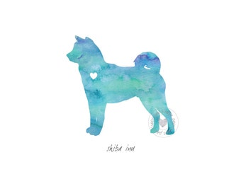 Shiba Inu Dog Watercolor Painting Digital Art Print Silhouette Custom Wall Decor, Home, Office, Nursery, Room Decor