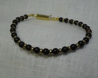 "Black Brown Obsidian Bracelet with Pewter glass beads 7.375"". ( BBrb01-16)"