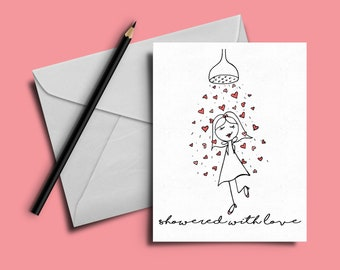 showered with love sweet and cute bridal shower card card for bride to be baby shower card card for her cute bridal shower card girly