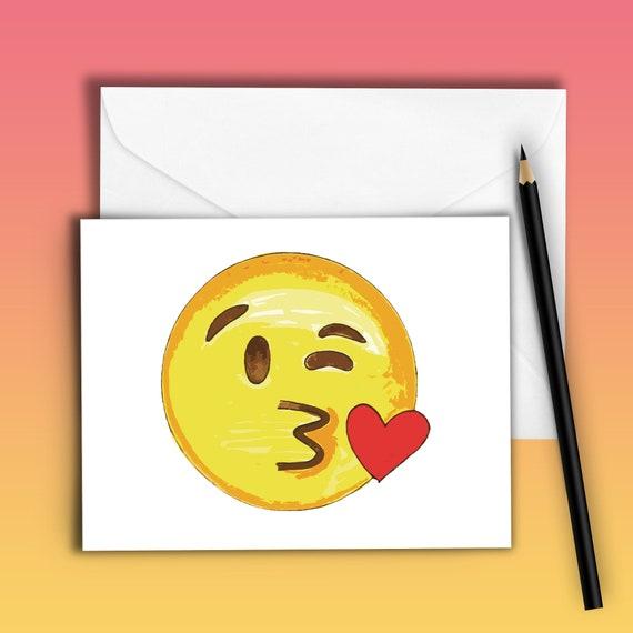 Lustige Valentinstag Karte Emoji Blasen Kuss Emoji Etsy