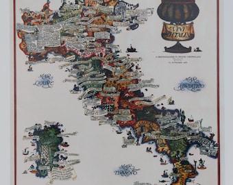 """Vintage Vini D'Italia Wine Map Of Italy Print 1976 """"D. O. C."""" A Denominazione Di Origine Controllata"""