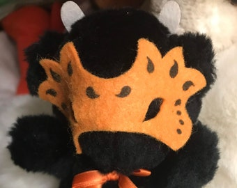 "Vtg 6 1/2"" Applause Halloween Teddie Black Bear 1987 Felt Masquerade Mask Happy Halloween"