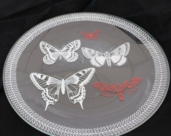 Vtg Five White & Red Butterflies Glass Round Serving Platter Dish With White Scroll Decoration