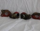 Vintage Four Hand Carved Napkin Rings Fish Pig Wooden 1970 39 s Philippines