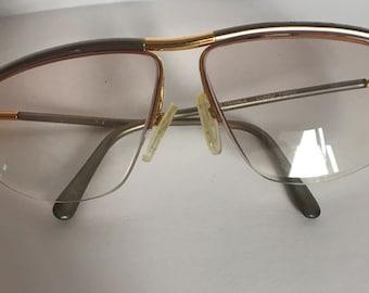 Vintage Frames France LOGO Paris Metal Gold Pewter Eyeglasses Made in France
