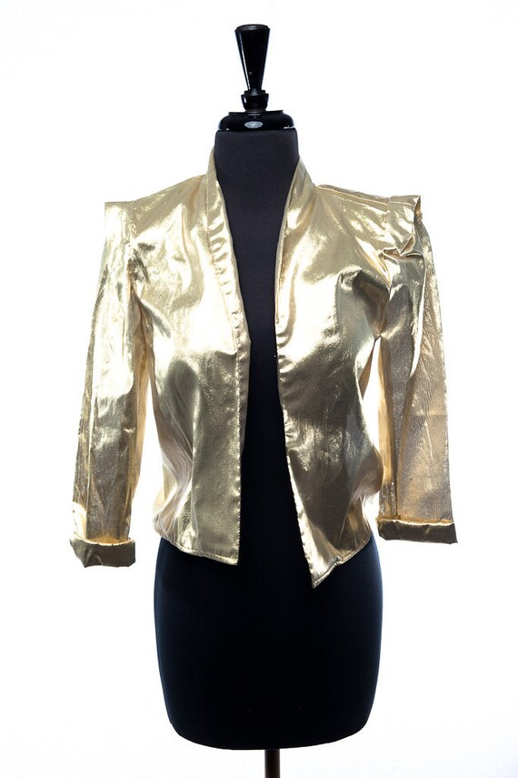 Vintage 1970's Siasia New York Gold Lame Jacket Wi