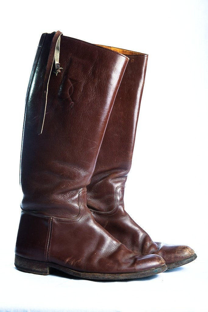 1940s Mens Ties | Wide Ties & Painted Ties Vintage 1940s Riding Boots Brown Leather Equestrian With Straps Mens Size 8.5 $0.00 AT vintagedancer.com