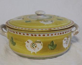Vintage 1970s Solimene Yellow Casserole Dish Handmade Vietris Italy Stamped On Base 28