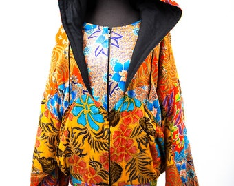 Vintage 1980s De Gruchy Hand Made Jacket Indonesia 100% Rayon Flowers Bright Colors L