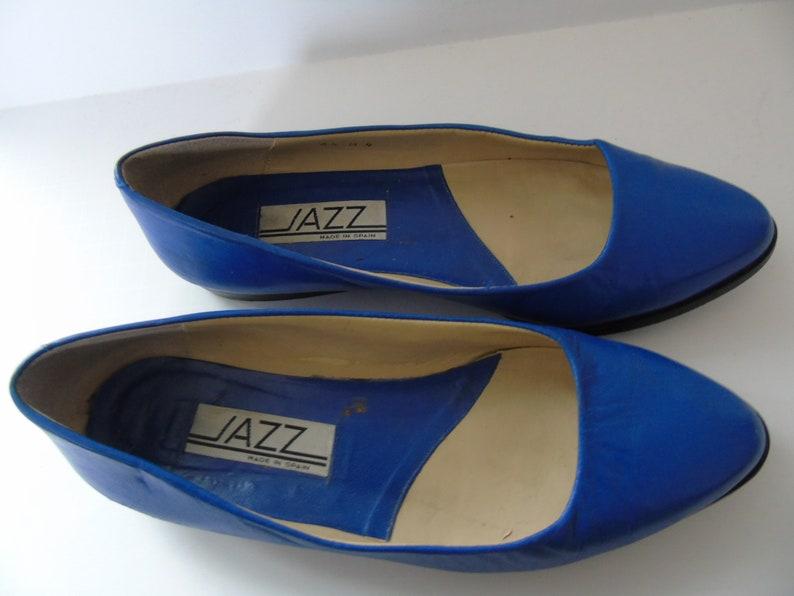 996295098c256 Vintage Women's Shoes Jazz Brand Designer Slip On Blue Leather Made In  Spain Size 6 1/2 B