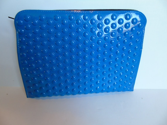 Vintage Bright Blue Dimpled Plastic Clutch Purse H