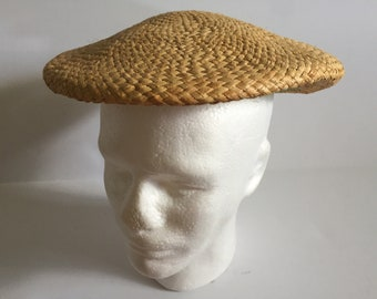 Vintage 1970's Straw Newsboy Cap Hat  M With Green Band On Underside Unisex