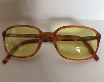 Vtg Tortoise Shell Rectangle Eyeglasses Yellow Tinted GIORGIO ARMANI Plastic 2055 015 51018 140 Made in Italy