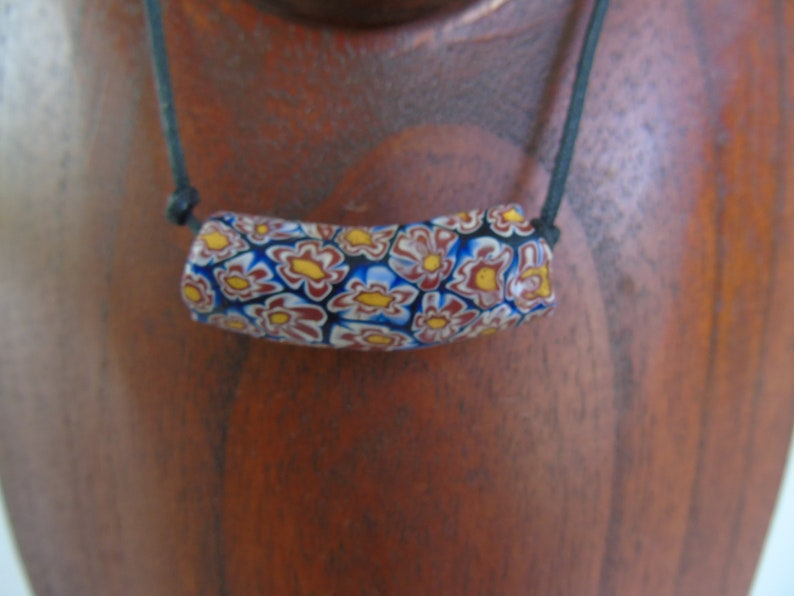 Vintage 1960/'s Venetian Glass Bead Necklace African Trade Bead On Leather Strand Blue Yellow Burnt Orange