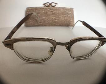 """Vintage Men's Symphony Eyeglasses & Original Case 10K Gold Filled """"Oceania"""""""