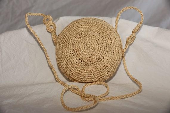 Vintage 1960's Crochet Round Purse Shoulder Crossb