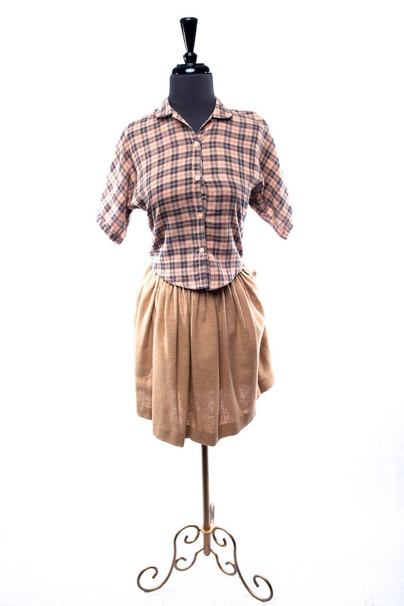 Vintage 1970's Carol Horn Habitat Blouse & Skirt S
