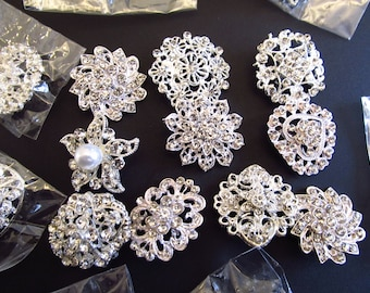 50 PCs DEFECTIVE Rhinestone Brooch Lot Silver Pin Button Embellishment Crystal Pearl Wedding Bouquet Brooch Bouquet New With Defects DIY