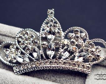 "5 Tiara Crown Flatback Button 2.75"" Rhinestone Brooch Silver Pin Crystal Wedding Brooch Bouquet Embellishment Bridal Hair Comb Cake BT101"