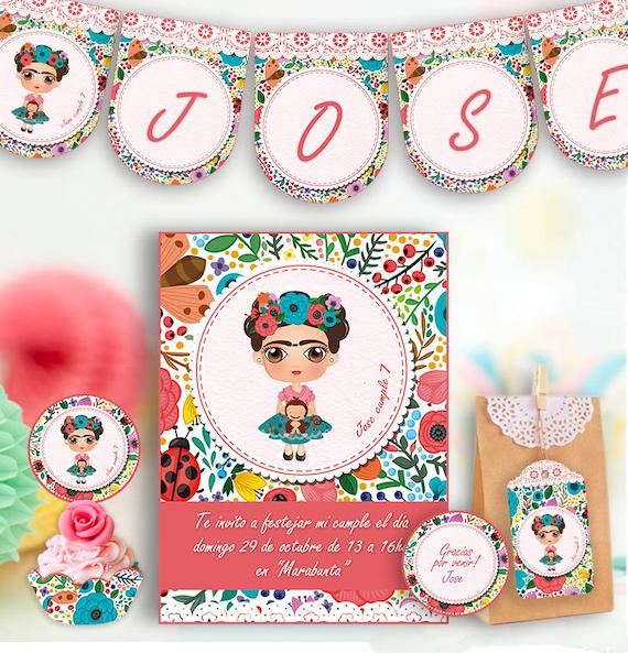Frida Kahlo Birthday Party Printable digital kit Decorations Mexican First Birthday