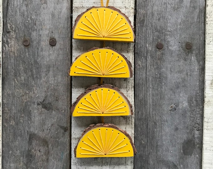 Yellow Sun Wood Wall Art