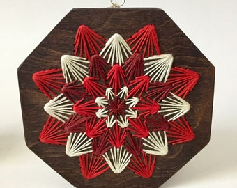 Red Dahlia Embroidered Board