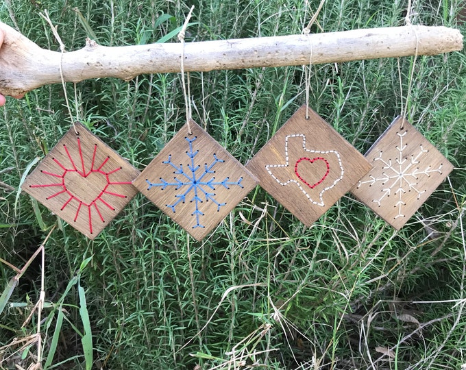 Wood Embroidered Ornaments