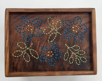 Blue flower embroidered keepsake box