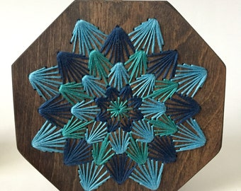 Blue Dahlia Embroidered Board