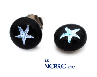 Earrings, nails and chips, dichroic glass, stainless steel, stainless steel, stainless starfish, nautical, silver, fusion glass, handmade