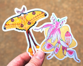 Holographic stickers of comet moth and orchid mantis