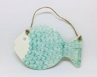 Handmade Ceramic Fish Wall Hanging Decoration, Garden Ornament, Garden Decoration, Gift for a Friend