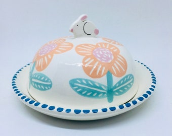 Handmade Ceramic Butter Dish Hand Painted with Flowers and a Cute Bunny, Butter Plate and Dome