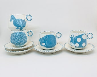 Handmade Ceramic Espresso Cup Hand Painted with a Blue Farm Animals, Ceramics and Pottery, Handmade Cup and Saucer, Gift for Coffee Lovers