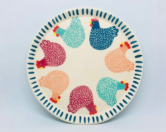 Handmade Ceramic Plate Hand Painted with 7 Colourful Hens, Hand Painted Plate