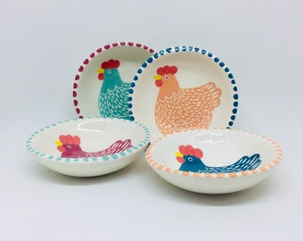 Set of 4 Handmade Ceramic Bowls each Hand Painted with a Coloured Hen