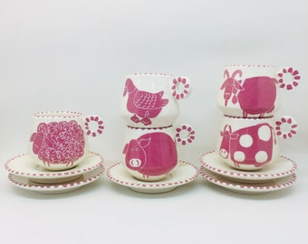 Handmade Ceramic Espresso Cup Hand Painted with a Pink Farm Animals, Ceramics and Pottery, Handmade Cup and Saucer, Gift for Coffee Lovers