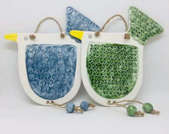 Handmade Ceramic Bird Wall Hanging Decoration, Garden Ornament, Garden Decoration, Gift for a Friend
