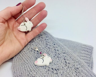 Handmade Ceramic Bunny Stitch Markers, Progress Keeper, Knitting Markers