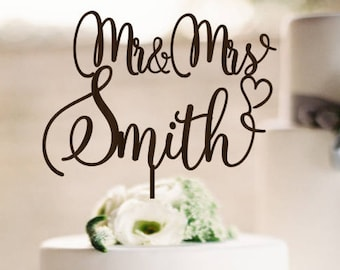 Wedding Cake Topper Mr  & Mrs  Wood Personalized  Wedding Cake Topper Mr and Mrs Cake Topper Custom Cake Topper for Wedding Cake Last Name