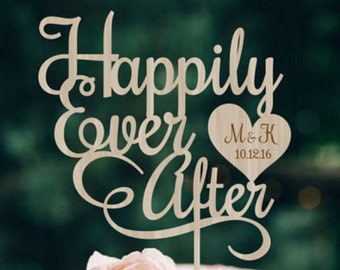 Wedding Cake Topper Happily Ever After Personalized Wood Cake Topper Rustic Wedding Cake Topper Custom Wedding Cake topper