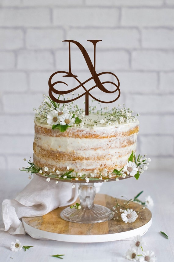 Wedding Cake Topper Initial Wedding Cake Topper Personalized Etsy