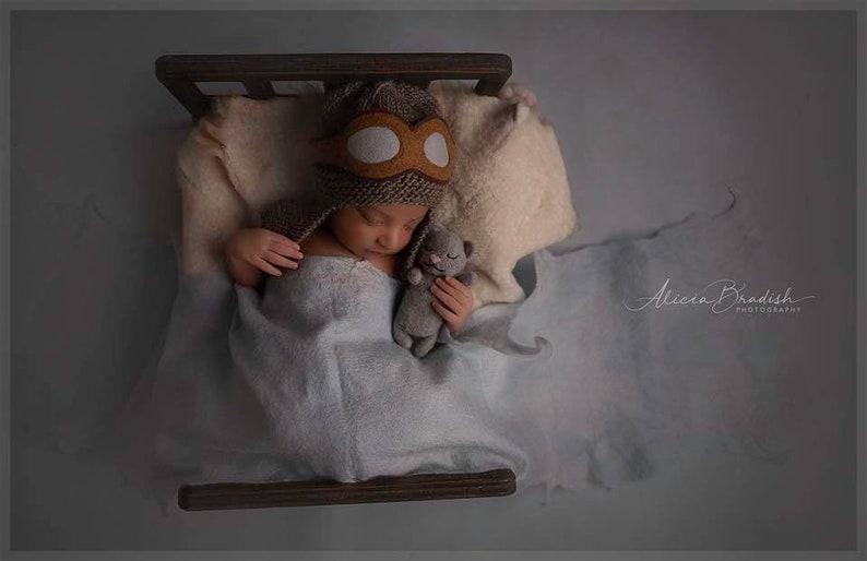 aviator hat newborn prop photo prop knit hat goggles image 0